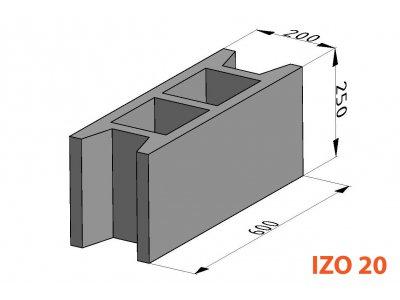 bednící tvárnice IZO ZB 20cm (60x20x25cm)