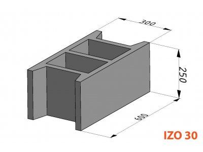 bednící tvárnice IZO ZB 30cm (60x30x25cm)
