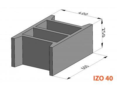 bednící tvárnice IZO ZB 40cm (60x40x25cm)
