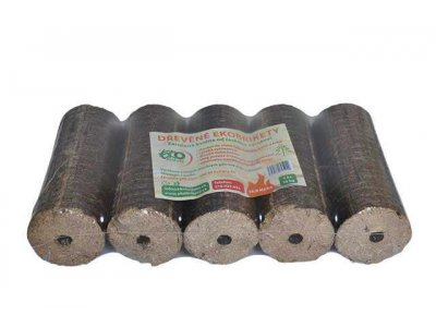 EKObrikety dřevěné balení=10kg výhřevnost 18 MJ/kg