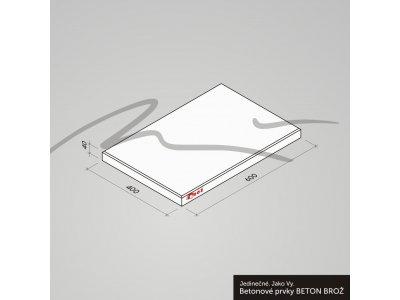 dlažba 60x40x4cm šedá hladká Brož
