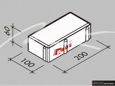 dlažba 20x10x6cm šedá BROŽ Parketa (11,52 m2)