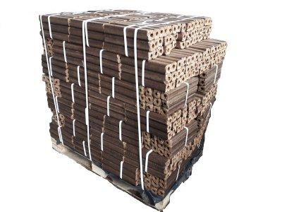 brikety dřevěné Pini Kay paleta=96bal výhřevnost 20 MJ/kg